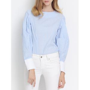 Preppy Stripe Back Zipper Puff Sleeve Asymmetric Blouse