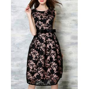 Belted Sleeveless Printed Splicing Dress