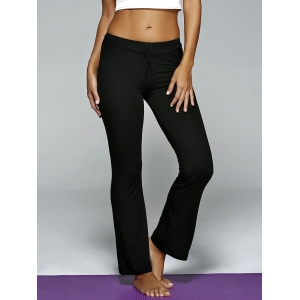 Plain Drawstring Loose-Fitting Yoga Pants