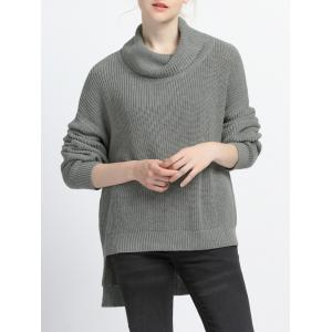 Turtle Neck High Low Pure Color Sweater
