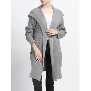 Pure Color Pocket Design Hooded Cardigan