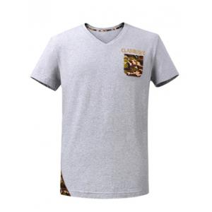 V-Neck Short Sleeve Camo Breast Pocket Spliced T-Shirt ODM Designer - Gray - S