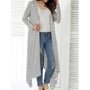 Long Sleeve Striped Asymmetrical Long Cardigan