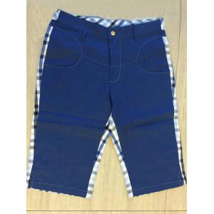 Zipper Fly Plaid Denim Spliced Knee Length Shorts ODM Designer - Blue - 34