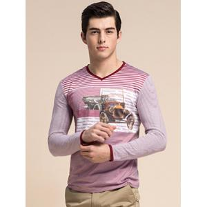 Striped 3D Vintage Car Print V-Neck Long Sleeve T-Shirt ODM Designer