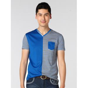 V-Neck Striped Spliced T-Shirt ODM Designer