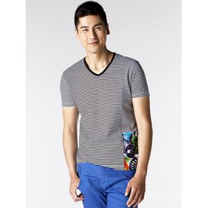 Printed Striped Spliced V-Neck T-Shirt ODM Designer