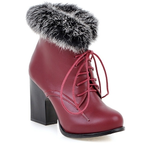 Lace Up Faux Fur Chunky Heel Ankle Boots - Wine Red - 41