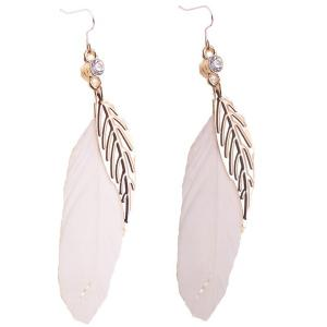 Bohemia Leaf Feather Rhinestone Embellished Drop Earrings - White