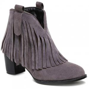 Suede Zipper Fringe Ankle Boots - Gray - 39