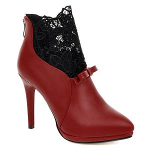 Splicing Embroidey Zipper Ankle Boots