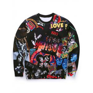 Round Neck 3D Cartoon Figures Spliced Print Long Sleeve Sweatshirt