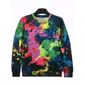 3D Color Block Splatter Paint Print Sweatshirt