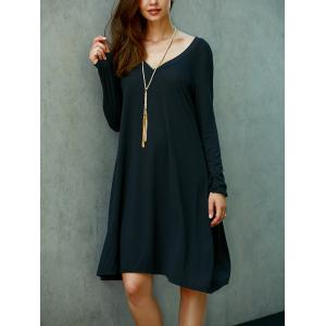 V Neck Long Sleeve Loose Fitting Shift Dress