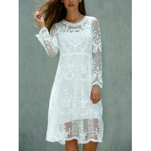 Lace Embroidered Long Sleeve Sheer Wedding Dress - White - One Size(fit Size Xs To M)