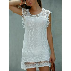 Scoop Neck Sleeveless Lace Shift Mini Dress - White - Xl