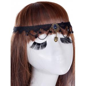 Faux Sapphire Forehead Heart Elastic Hair Band - Black