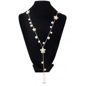 Artificial Pearl Floral Beaded Sweater Chain