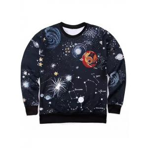 Round Neck 3D Outer Space Print Long Sleeve Sweatshirt