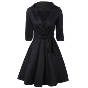 Tie Belt Button Cuff Swing Dress