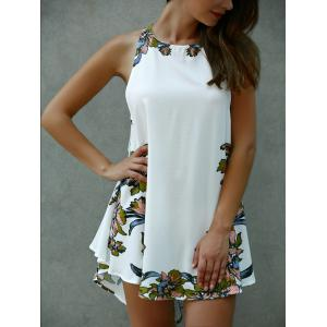 Floral Print Lace-Up Asymmetrical Club Dress - WHITE L