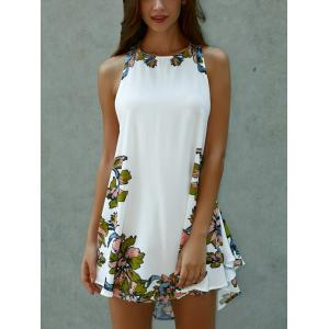 Lace-Up Asymmetrical Cut Out Floral Dress - WHITE L