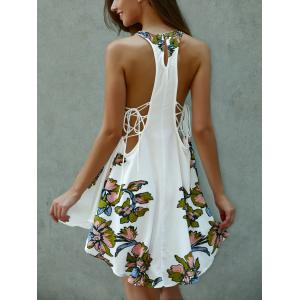 Floral Print Lace-Up Asymmetrical Club Dress