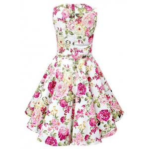 Vintage Sleeveless Floral Print Pin Up Dress -