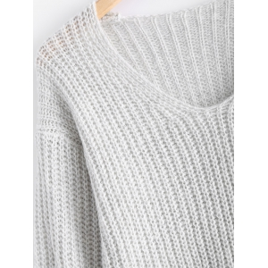 V Neck Chunky Pullover Sweater -