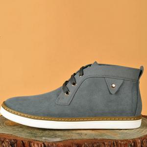 Mid Top Suede Lace-Up Casual Shoes ODM Designer - GRAY 41