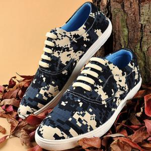 Camo Pixel Print Lace-Up Casual Shoes ODM Designer - DEEP BLUE 42