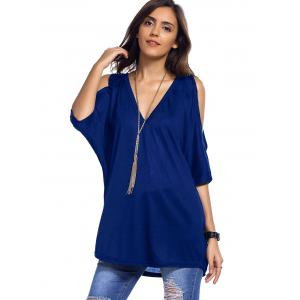 Cold Shoulder Asymmetrical Low Cut V Neck Tee -