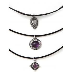 Fake Amethyst Medallion Teardrop Choker Necklace Set - BLACK