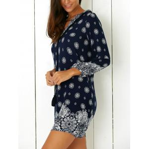 Tribal Print Casual Going Out Shift Dress - PURPLISH BLUE XL