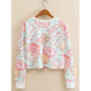 Cookies Letter Print Cropped Long Sleeve Sweatshirt -