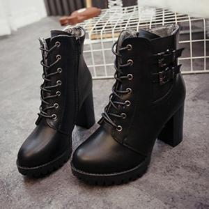 Chunky Heel Buckles Front Lace-Up Short Boots -