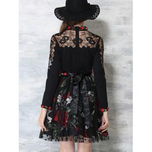 Flower Embroidered Long Sleeves Lace Spliced Dress -