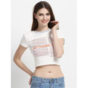 Letter Print Cropped T-Shirt -