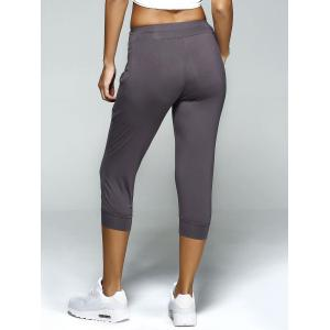 Pleated Front Capri Workout Harem Yoga Pants -
