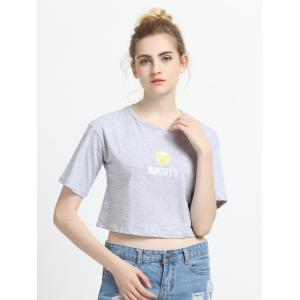 Letter and Face Print Crop Top -