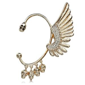 Rhinestone Wing Skull Decorative Ear Cuff - GOLDEN