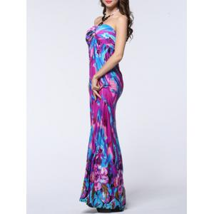 Halter Floral Print Backless Long Maxi Prom Dress -