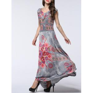 Flounce Floral Print Elastic Waist Dress - GRAY 4XL