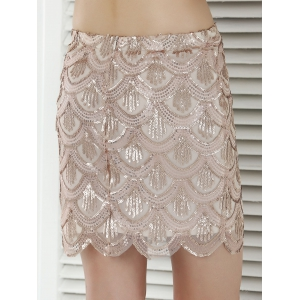 Fish Scale Pattern Sequined Sheath Skirt -