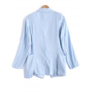 Turn Down Collar Pocket Linen One Button Blazer -
