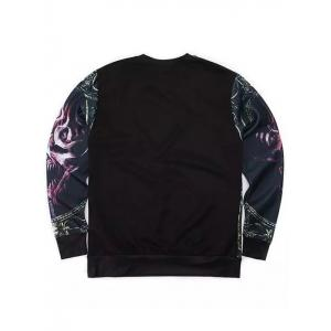 Round Neck 3D Abstract Skull Print Long Sleeve Sweatshirt - BLACK L
