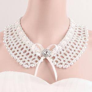 Elegant Cut Out Faux Pearl Fake Collar Necklace Set -