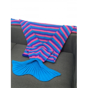 Stripe Pattern Knitting Mermaid Tail Shape Blanket - PURPLE