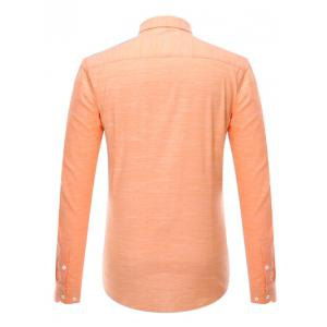 Button-Down Long Sleeve Pocket Design Shirt ODM Designer - ORANGE 4XL