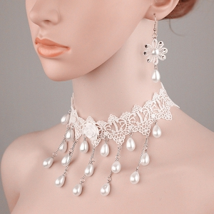 Tiered Lace Crochet Teardrop Fake Pearl Bridal Necklace Set - PEARL WHITE